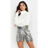 Womens Snake Satin Belted Shorts - grey - 10, Grey