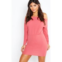 Off The Shoulder Long Puff Sleeve Bodycon Dress