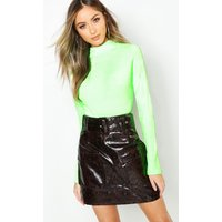 Womens Snake Print Leather Look Belted Cargo Mini Skirt - brown - 8, Brown