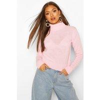 Womens Roll Neck Crop Jumper - Pink - M, Pink