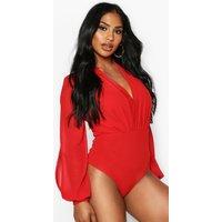 Womens Wrap Chiffon Split Sleeve Bodysuit - Red - 16, Red