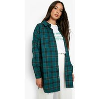 Womens Oversized Frayed Check Shirt - Green - 6, Green