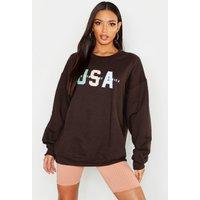 USA Slogan Oversized Sweatshirt