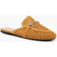 Womens Woven Mule Loafers - yellow - 3, Yellow