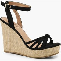 Womens Caged Front Wedges - black - 3, Black