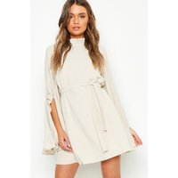 Womens Boho High Neck Wide Sleeve Shift Dress - Cream - 16, Cream