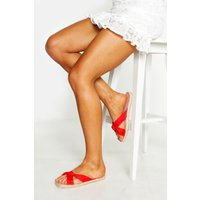 Womens Knot Front Espadrille Sliders - red - 4, Red