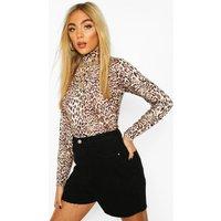 Womens Leopard Print High Neck Long Sleeve Bodysuit - Brown - 12, Brown