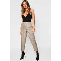 Womens Checked Tapered Trousers - brown - 12, Brown