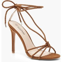 Womens Plaited Wrap Heel Sandals - brown - 7, Brown