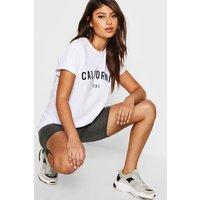 Womens California Slogan T-Shirt - white - M, White