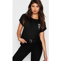 Womens Rose Pocket Print T-Shirt - Black - M, Black