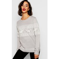 Womens Christmas Reindeer Fairisle Jumper - grey - M, Grey