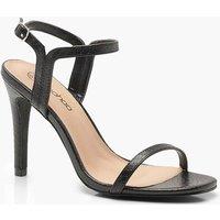 Womens Wide Fit Croc 2 Part Heels - black - 3, Black