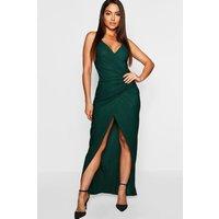 Womens Crepe Plunge Wrap Detail Maxi Dress - Green - 14, Green