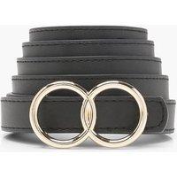 Womens Double Ring Boyfriend Belt - Black - One Size, Black