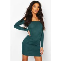 Womens Ribbed Low Scoop Neckline Bodycon Dress - green - 8, Green