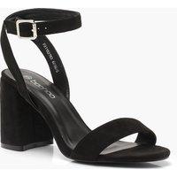 Womens Chunky Block 2 Part Heels - black - 4, Black