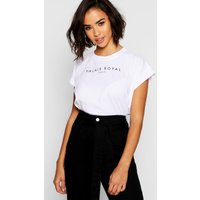 Womens Cotton Cap Sleeve Slogan T-Shirt - white - 12, White