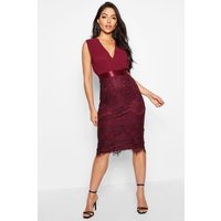 Womens Chiffon & Lace Midi Dress - Red - 16, Red