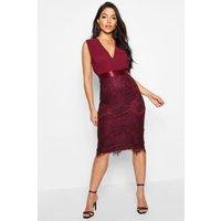 Womens Chiffon & Lace Midi Dress - Red - 16, Red