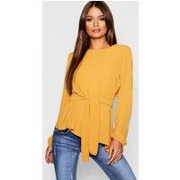 Womens Asymmetric Hem Belted Woven Top - yellow - 8, Yellow