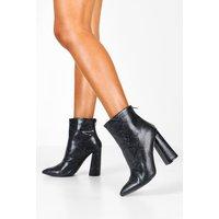 Womens Snake Flared Heel Shoe Boots - Black - 3, Black
