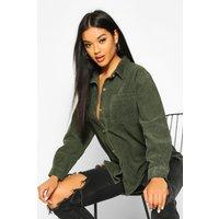 Womens Longline Cord Boyfriend Shirt - green - 10, Green