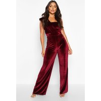 Womens Velvet Drape One Shoulder Jumpsuit - red - 14, Red