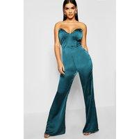 Womens Satin Bustier Jumpsuit - green - 8, Green