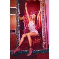 Womens Tassel Sequin Halterneck Playsuit - metallics - 14, Metallics
