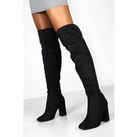 Womens Block Heel Over The Knee Boots - black - 8, Black