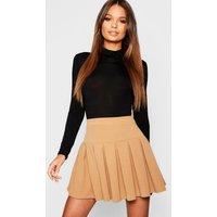 Womens Pleated Tennis Skirt - beige - 16, Beige