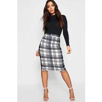 Womens Monochrome Check Midi Skirt - Black - 14, Black