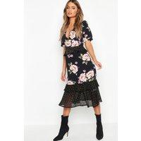 Womens Floral Polka Dot Mix Midi Dress - black - 10, Black