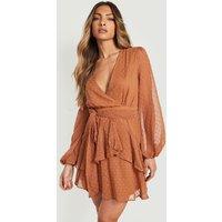 Womens Ruffle Hem Dobby Chiffon Mini Dress - Brown - 12, Brown