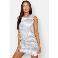 Womens Tweed Frayed Edge Mini Pinafore Dress - white - 16, White