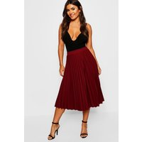 Womens Pleated Midi Skirt - red - L, Red