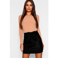 Womens Paperbag Belted Suedette Micro Mini Skirt - black - 14, Black
