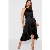 Womens Satin Frill Wrap Midi Dress - black - 12, Black
