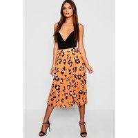 Womens Pleated Leopard Print Midi Skirt - orange - 12, Orange