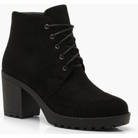 Womens Lace Up Chunky Heel Hiker Boots - black - 5, Black