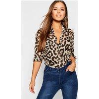 Womens Petite Chiffon Leopard Print Shirt - Brown - 4, Brown