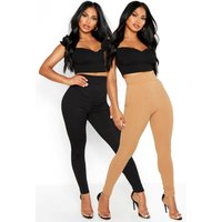 Womens Basic Jumbo Rib 2 Pack Leggings - beige - 8, Beige