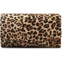 Womens Structured Leopard Envelope Clutch Bag & Chain - Beige - One Size, Beige