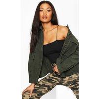 Womens Super Oversize Mock Horn Button Cord Shirt - green - 12, Green