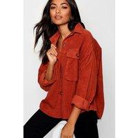Womens Super Oversize Mock Horn Button Cord Shirt - orange - 10, Orange