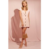 Shawl Collar Tailored Button Front Dress