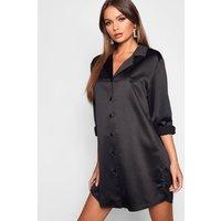 Womens Luxe Satin Oversized Shirt Dress - black - 12, Black