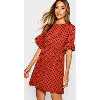 Womens Polka Dot Ruffle Sleeve Smock Dress - orange - 16, Orange